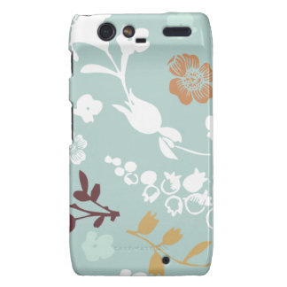 Spring flowers girly mod chic blue floral pattern droid RAZR cover
