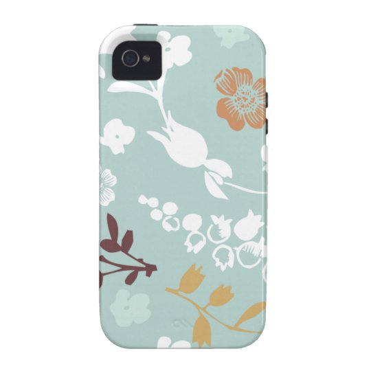 Spring flowers girly mod chic blue floral pattern Case-Mate iPhone 4 case