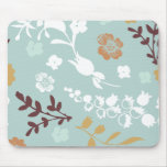 Spring flowers girly mod chic blue floral pattern mouse pad