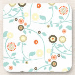 Spring flowers girly mod chic floral pattern coasters