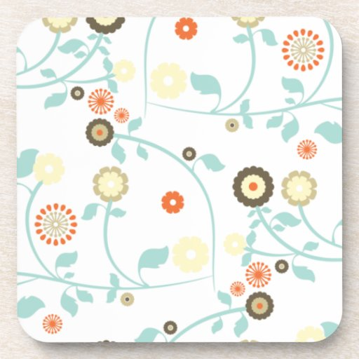 Spring flowers girly mod chic floral pattern beverage coasters