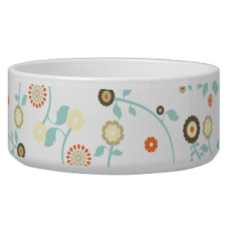 Spring flowers girly mod chic floral pattern dog water bowl