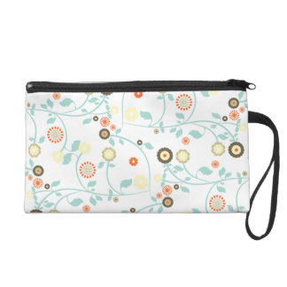 Spring flowers girly mod chic floral pattern wristlet clutch