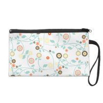 Spring flowers girly mod chic floral pattern wristlet purse
