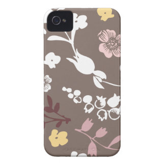 Spring flowers girly mod chic gray floral pattern iPhone 4 Case-Mate cases
