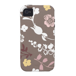 Spring flowers girly mod chic gray floral pattern Case-Mate iPhone 4 cases