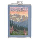 Spring Flowers - Glacier National Park, MT Hip Flasks