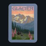 "Spring Flowers - Glacier National Park, MT Magnet<br><div class=""desc"">Spring Flowers - Glacier National Park,  MT - Vintage Travel Poster was created in 2011. This image depicts scenes from Glacier National Park,  MT.</div>"