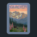 "Spring Flowers - Glacier National Park, MT Magnet<br><div class=""desc"">Spring Flowers - Glacier National Park,  MT - Vintage Travel Poster was created in 2011. This image depicts scenes from Glacier National Park,  MT.</div>"