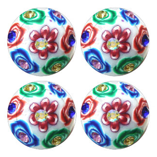 Spring Flowers Glas Stones Button Covers Pack Of Large Button Covers