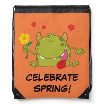 Spring Flowers Green Monster Drawstring Backpack