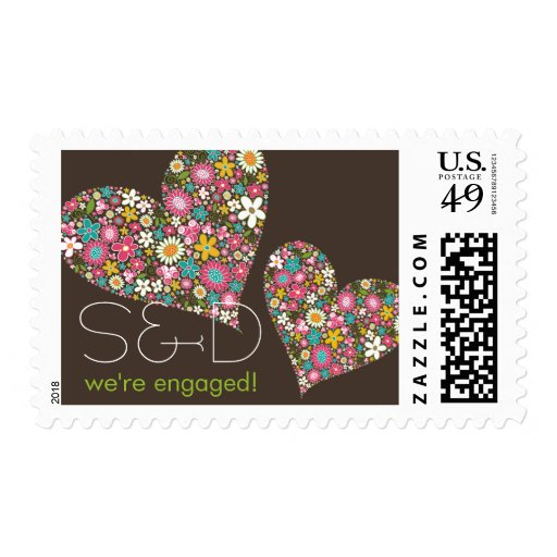 Spring Flowers Heart Engagement Announcement Postage Stamp