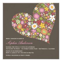 Spring Flowers Heart Love Bridal Shower Invite Personalized Invites