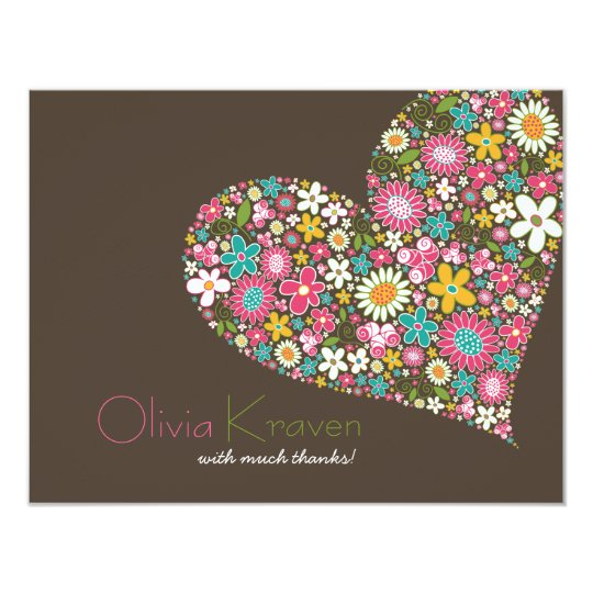 Spring Flowers Heart Love Bridal Shower Wedding Card