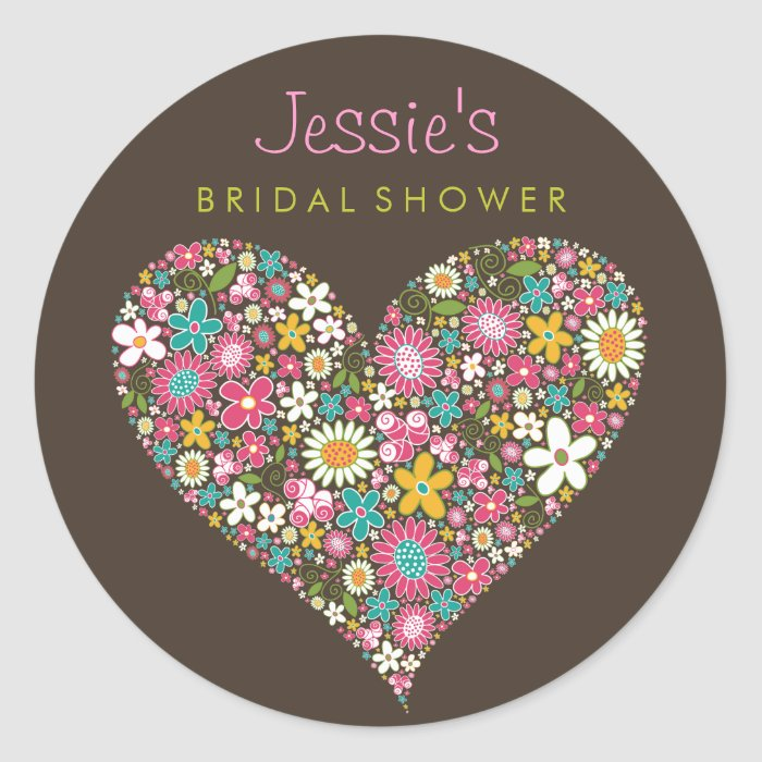 Spring Flowers Heart Love Bridal Shower Wedding Classic Round Sticker