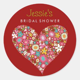 Spring Flowers Heart Love Bridal Shower Wedding Classic Round Sticker