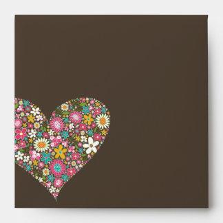 Spring Flowers Heart Love Bridal Shower Wedding Envelope