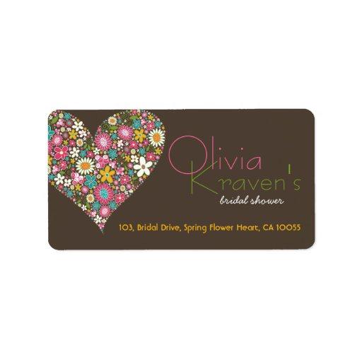 Spring Flowers Heart Love Bridal Shower Wedding Custom Address Label