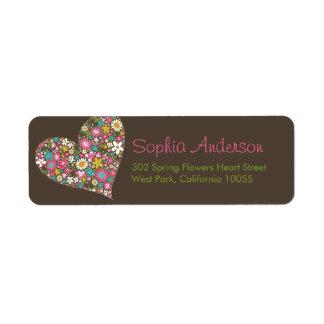 Spring Flowers Heart Love Bridal Shower Wedding Label