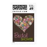 Spring Flowers Heart Love Bridal Shower Wedding Postage Stamps