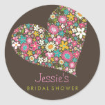 Spring Flowers Heart Love Bridal Shower Wedding Stickers