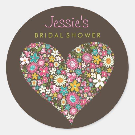 Spring Flowers Heart Love Bridal Shower Wedding Round Stickers