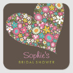 Spring Flowers Heart Love Bridal Shower Wedding Sticker