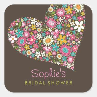 Spring Flowers Heart Love Bridal Shower Wedding Square Sticker