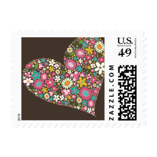 Spring Flowers Heart Love Wedding Stamps