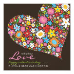 Spring Flowers Heart Valentine's Day Greeting 5.25x5.25 Square Paper Invitation Card