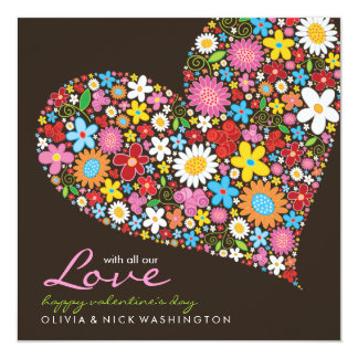 Spring Flowers Heart Valentine's Day Greeting Custom Invites