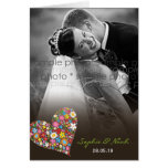 Spring Flowers Heart Wedding Thank You Photo Card
