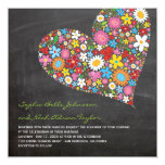 Spring Flowers Heart Whimsical Chalkboard Wedding 5.25x5.25 Square Paper Invitation Card