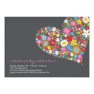 Spring Flowers Heart Whimsical Valentine Party Personalized Invitations