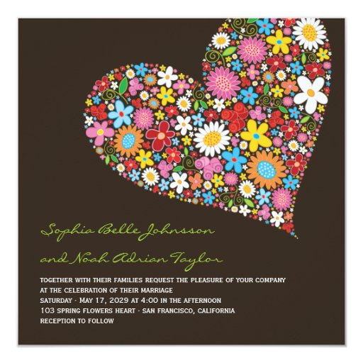 "Spring Flowers Heart Whimsical Wedding Invite 5.25"" Square Invitation Card"