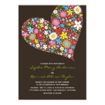 "Spring Flowers Heart Whimsical Wedding Invite 5"" X 7"" Invitation Card"
