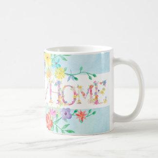 spring flowers home initial monogram watercolor coffee mug