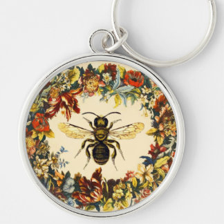 SPRING FLOWERS HONEY BEE / BEEKEEPER BEEKEEPING KEYCHAIN