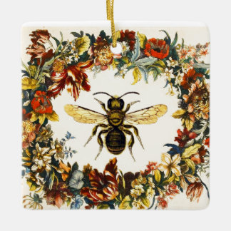 SPRING FLOWERS HONEY BEE / BEEKEEPER HEART CERAMIC ORNAMENT