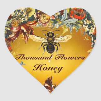 SPRING FLOWERS HONEY BEE / BEEKEEPER HEART HEART STICKER