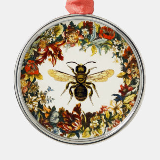 SPRING FLOWERS HONEY BEE / BEEKEEPER METAL ORNAMENT