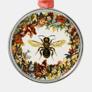 SPRING FLOWERS HONEY BEE / BEEKEEPER METAL ORNAMENT