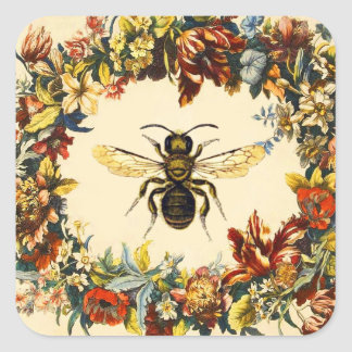SPRING FLOWERS HONEY BEE / BEEKEEPER SQUARE SQUARE STICKER