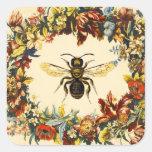 SPRING FLOWERS HONEY BEE / BEEKEEPER SQUARE STICKER