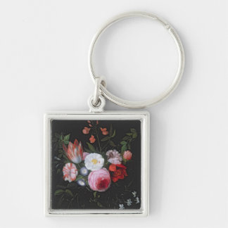 Spring Flowers in a glass vase, 17th century Silver-Colored Square Keychain