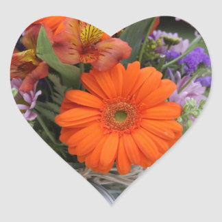 Spring flowers in a vase heart sticker