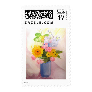 Spring Flowers in a Vase Postage Stamp