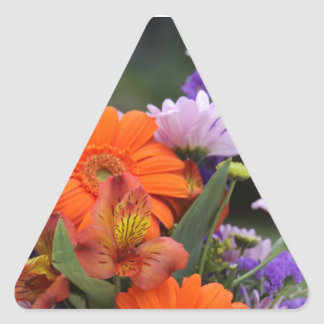 Spring flowers in a vase triangle sticker