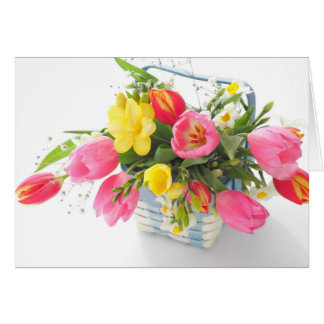 Spring flowers in basket card