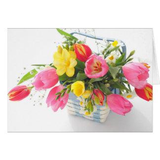 Spring flowers in basket card
